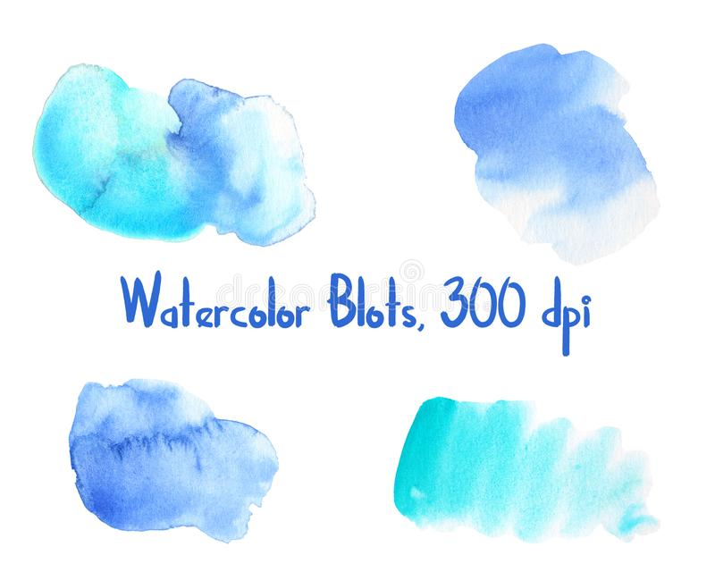 Blue and turquoise watercolor blot on white background. Watercolour texture of wet paint on paper. Handdrawn watercolor stain set isolated. Colorful backdrop royalty free illustration