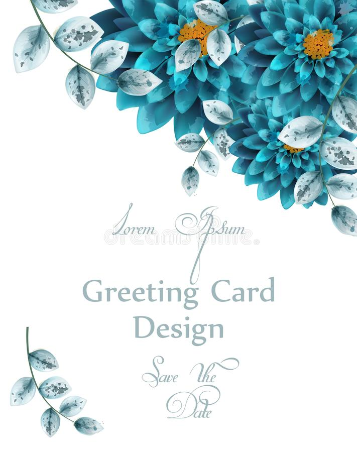 Blue turquoise watercolor flowers card Vector. Greeting card floral decorations. Blue turquoise watercolor flowers card Vector. Greeting card floral decoration royalty free illustration