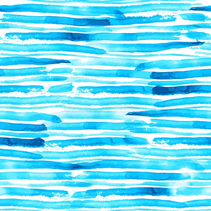 Blue and turquoise watercolor brush stroke stripes seamless vector pattern. Blue and turquoise watercolor grunge brush stroke stripes seamless vector surface vector illustration