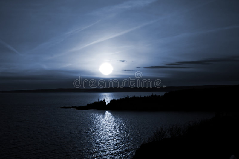 Download Blue Twilight stock image. Image of ocean, halo, trees - 2311013