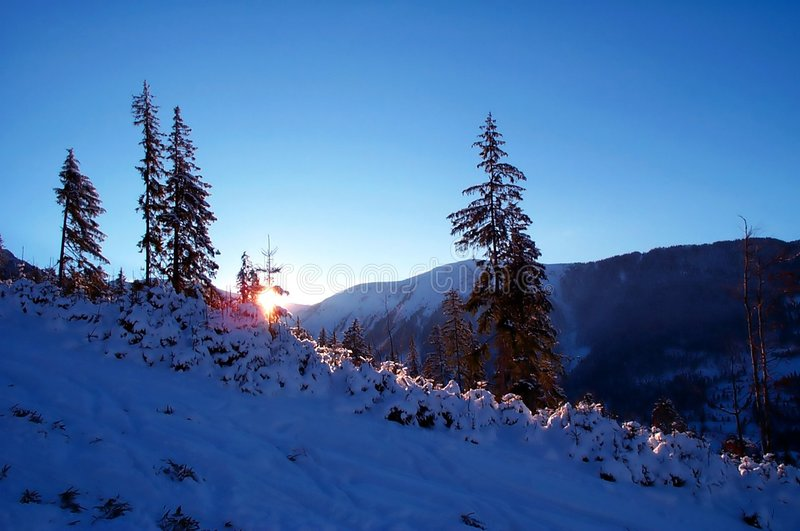 Blue twilight in the mountains stock photo