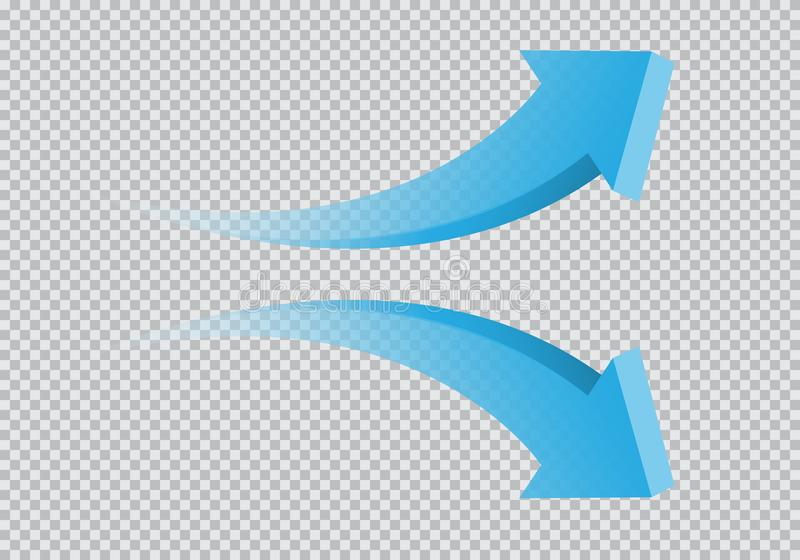 Blue twin arrow 3D curve direction gradient transparent on checkered background sign symbol vector. Illustration vector illustration