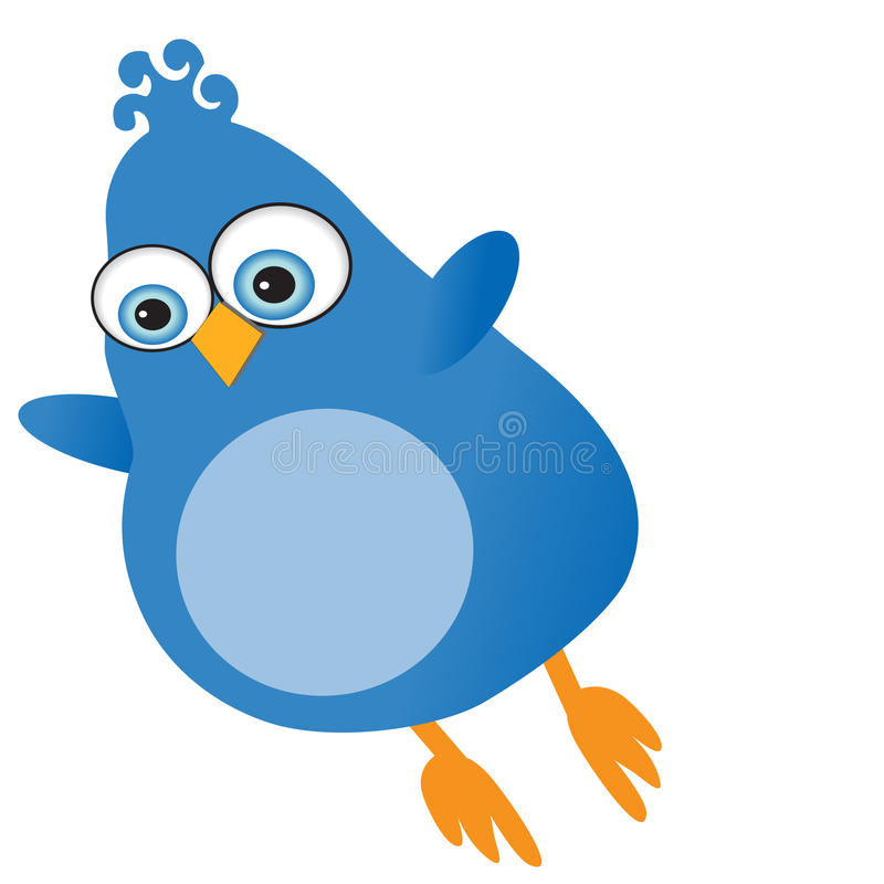 Blue-twitter-bird stock illustration