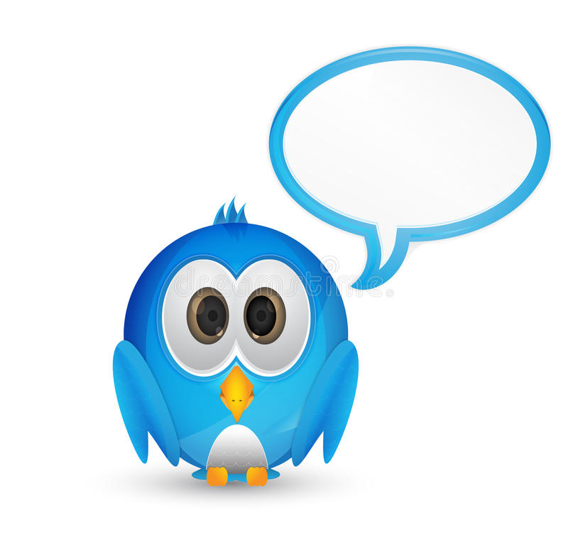 Blue twitter bird with speech bubble stock illustration
