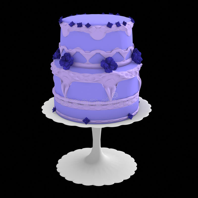 Blue two layer cake - 3d computer generated stock illustration