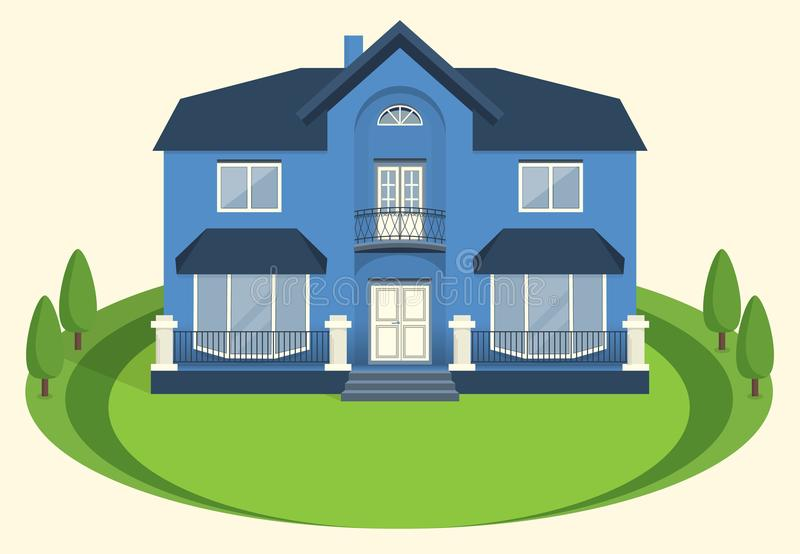 A blue two-story mansion with a balcony and large windows.Vector royalty free illustration