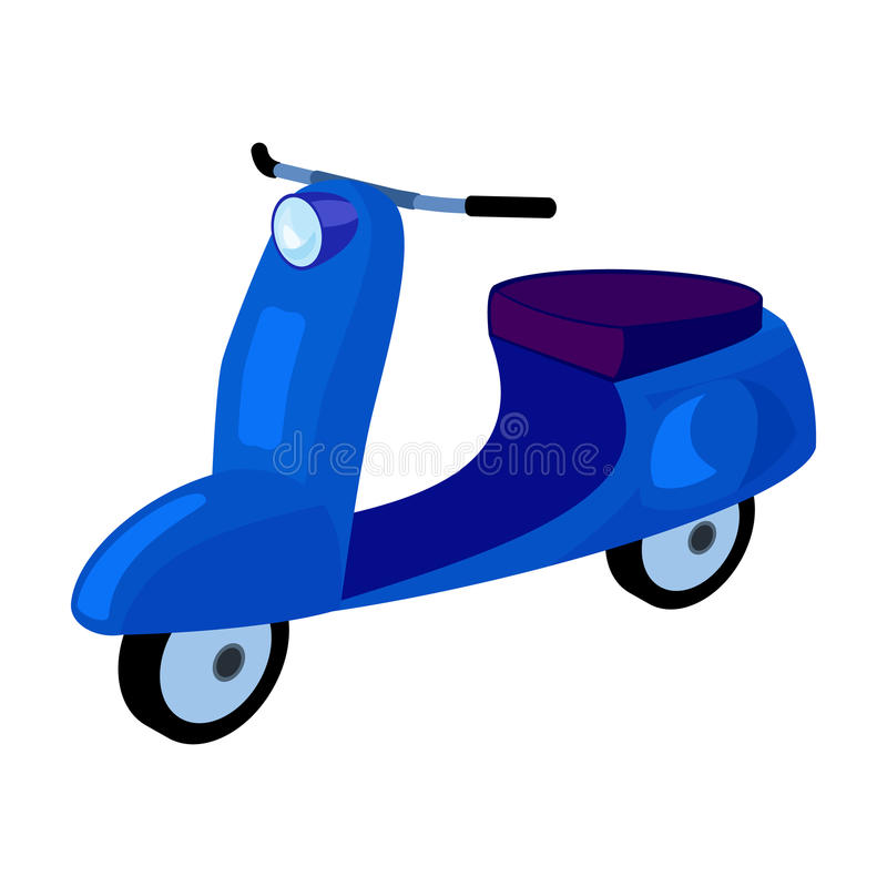 Blue two wheeled scooter. Transport for moving around the city.Transport single icon in cartoon style vector symbol vector illustration