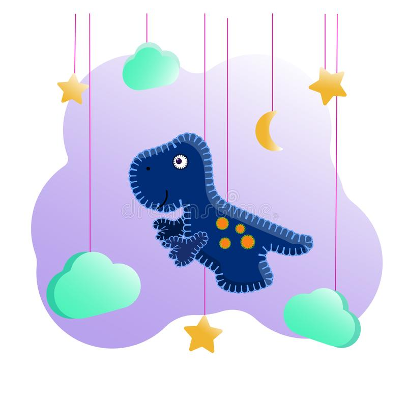 Blue tyrannosaurus in the style of a felt toy with a stitch thread. Among the clouds and stars. Decoration for the children`s room, a poster, printing on kids royalty free illustration