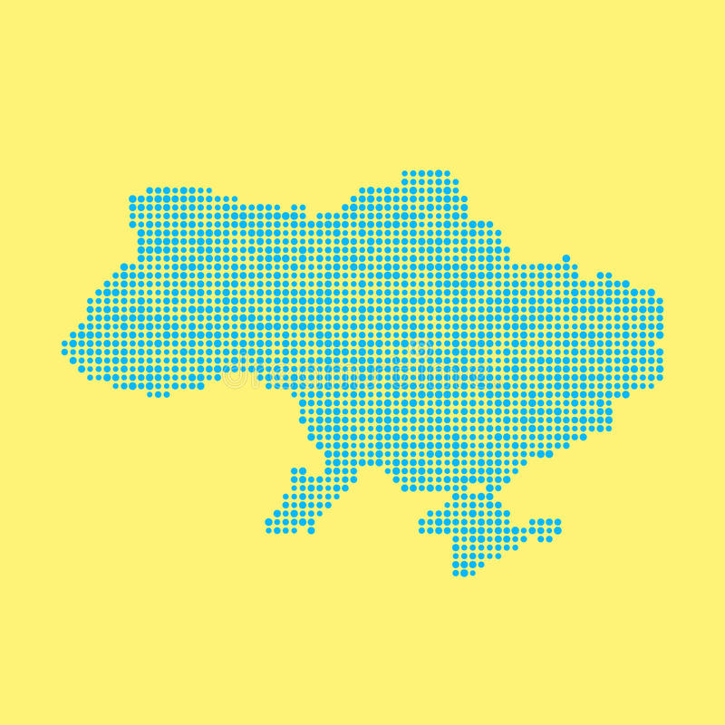Blue ukrainian map from dots. Concept of schooling, poster decoration, mosaic, checkered card, colored atlas, national flag colors. flat style trendy modern vector illustration