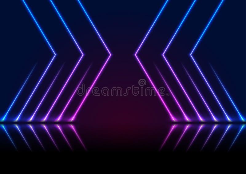 Blue ultraviolet neon laser lines technology modern background stock image