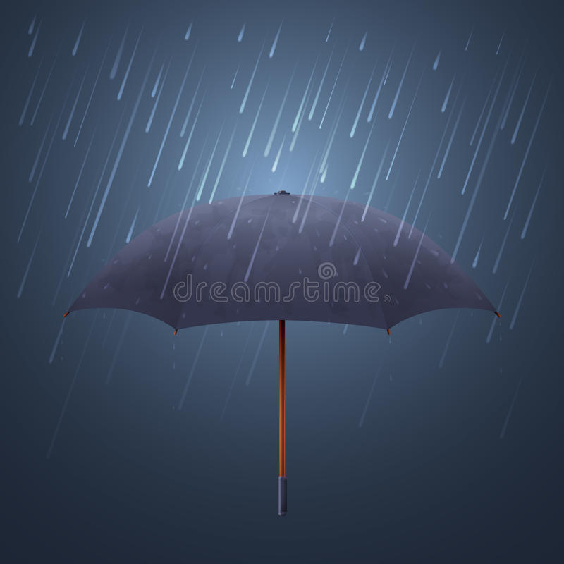 Free Blue Umbrella And Fall Rain. Cool Water Storm Night Sky Protection Vector Illustration Stock Photography - 83966392