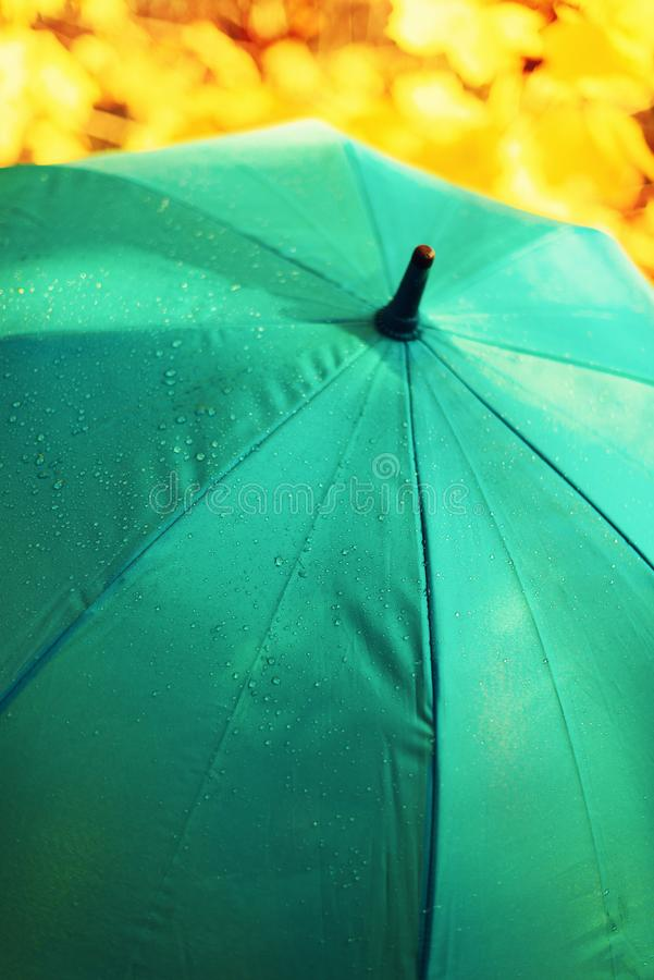Blue umbrella with rain drops. Autumn weather concept.  stock image