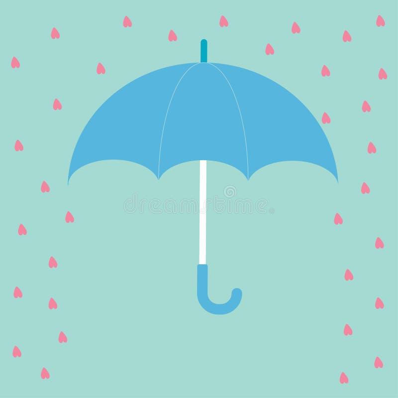 Blue umbrella with rain hearts. Love card. Flat design. stock illustration