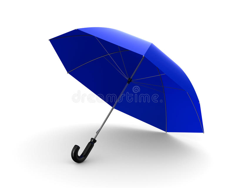 Blue umbrella on white background. Isolated 3D vector illustration