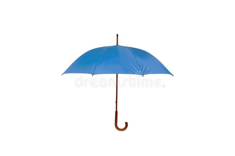 Blue Umbrella on White Background. Blue Umbrella with Wooden Curved Handle Center on White Background royalty free stock image