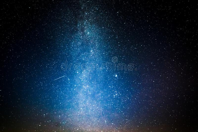Blue universe and constellation with million stars at night. As background royalty free stock photo