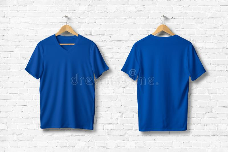 Blue V-Neck Shirt Mock-up hanging on white wall. Ready to replace with your design. 3D rendering royalty free illustration