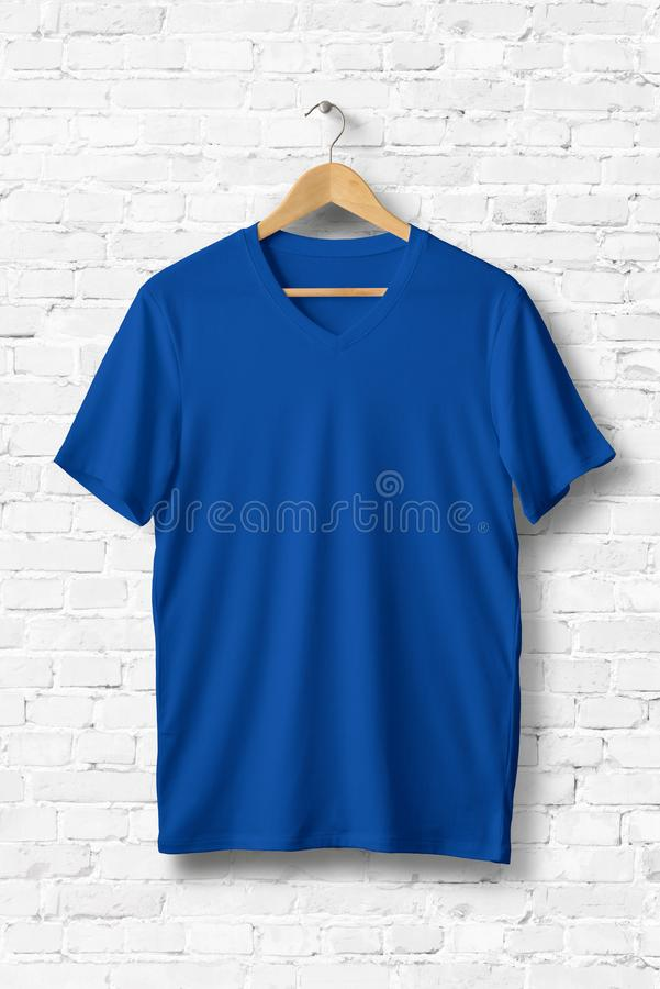 Blue V-Neck Shirt Mock-up hanging on white wall. stock illustration