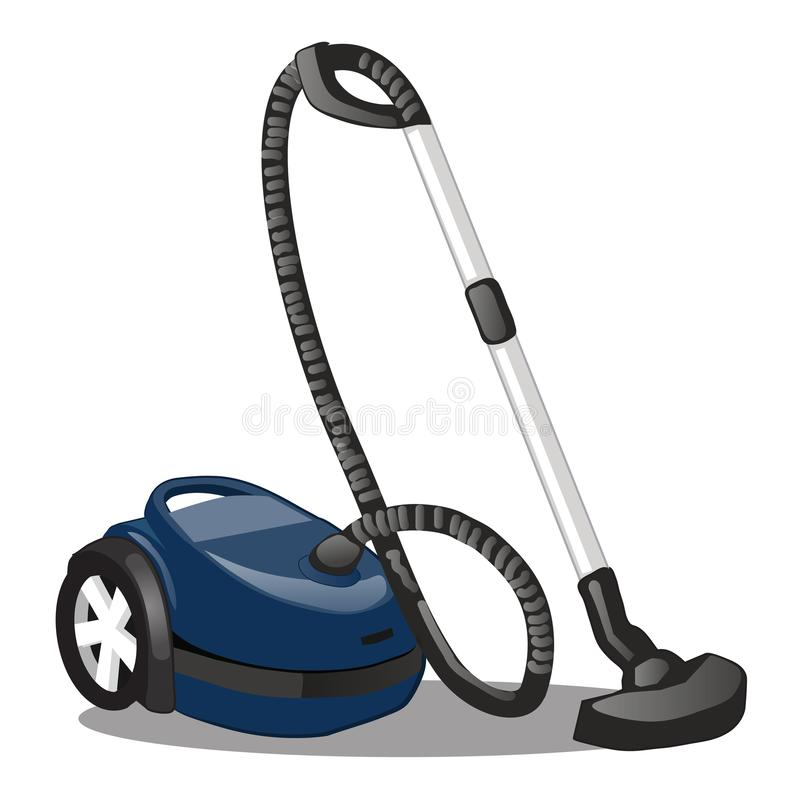 Blue Vacuum Cleaner isolated on white background. Equipment for home care and hygienic purity. Cartoon vector close-up stock illustration