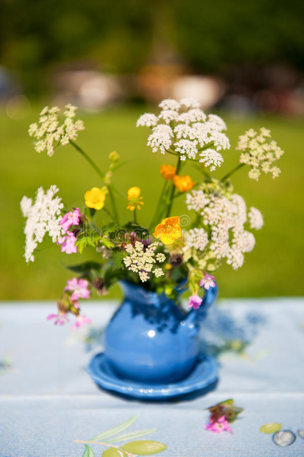 Blue Vase With Wild Flowers Royalty Free Stock Image