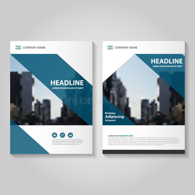Blue vector annual report leaflet brochure flyer template for Book report brochure template