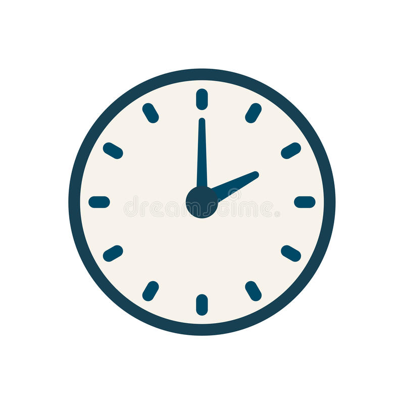 Blue vector clock icon, flat linear time sign vector illustration