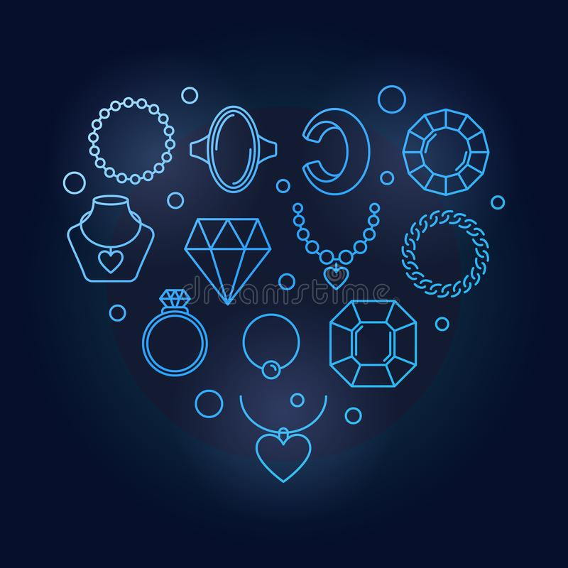Blue vector creative heart shape made of jewelry linear icons vector illustration