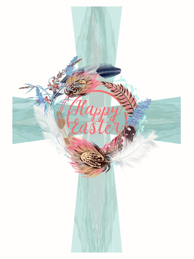 Blue vector Easter crest with decorations symbol of religion vector illustration