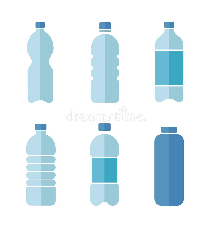 Blue vector flat design icons set of plastic bottles with clean water isolated on white background royalty free illustration