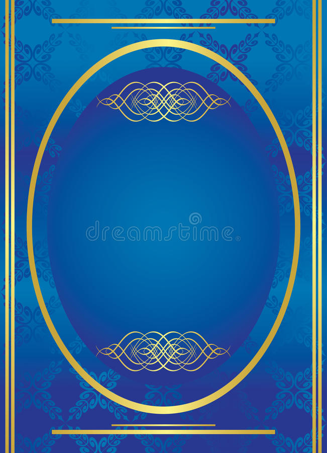Download Blue Vector Golden Frame With Oval Stock Vector - Image: 19350078