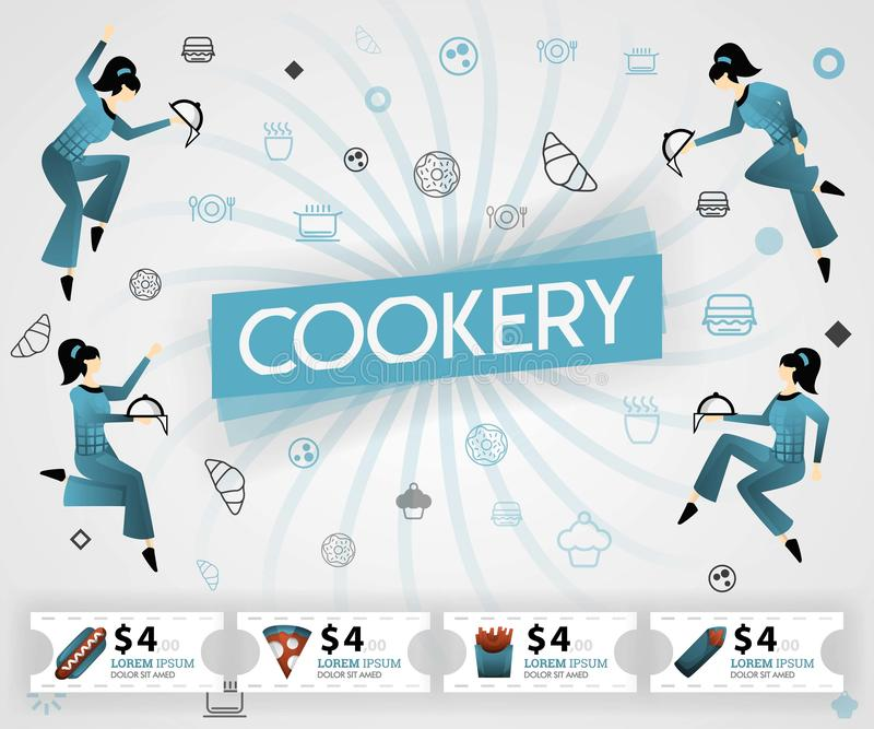 Blue vector illustration concept. Cookery food recipes cover book.  healthy cooking recipe and delicious food cover can be for, ma. Gazine, cover, banner stock illustration