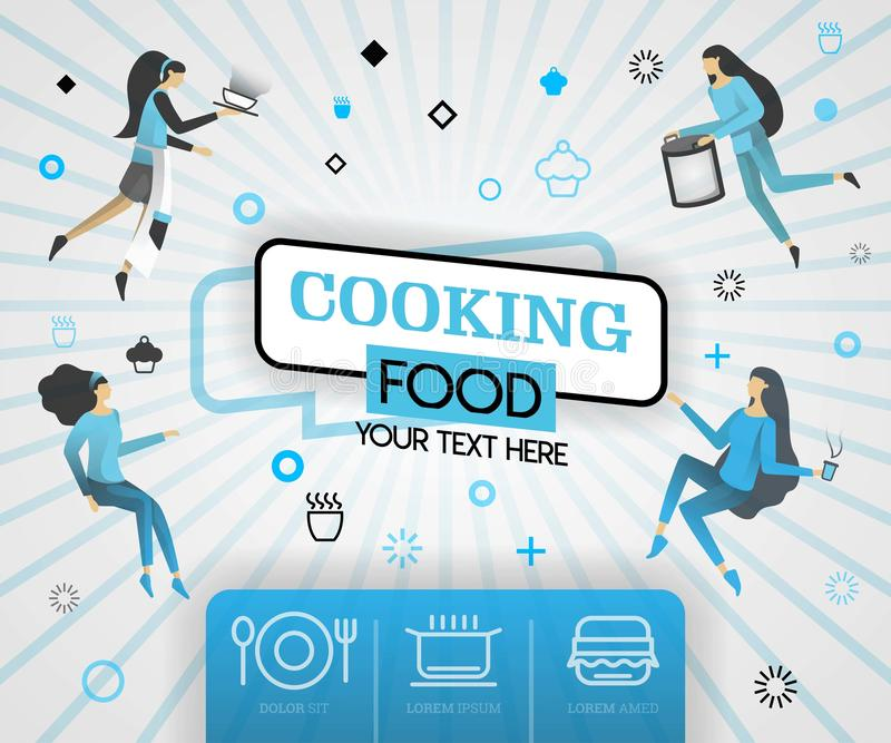 `blue vector illustration concept. cooking food recipes cover book.  healthy cooking recipes and delicious food cover can be for,. Magazine, cover, banner stock illustration