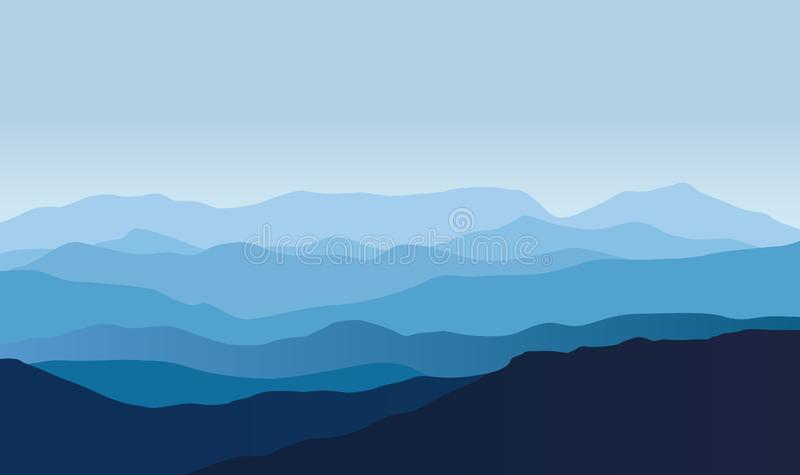 Blue vector landscape with silhouettes of misty mountains royalty free illustration