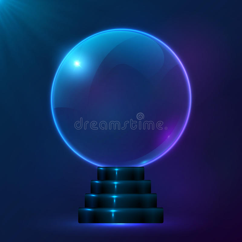 Blue vector magic spiritual ball vector illustration