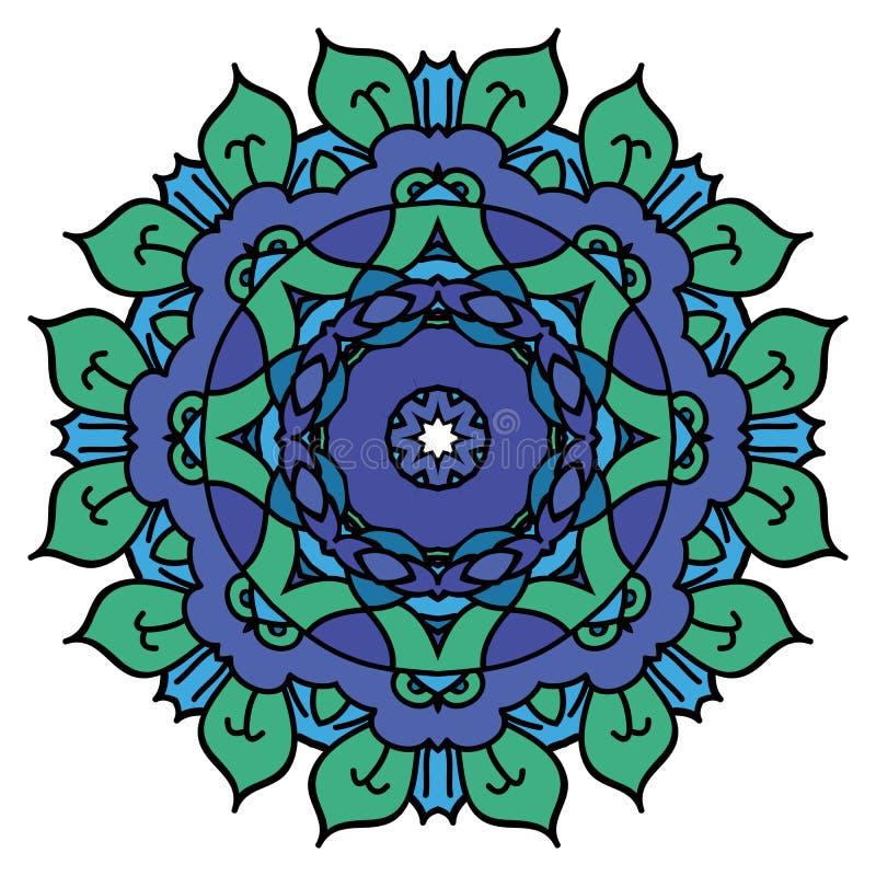 Blue vector mandala stock illustration