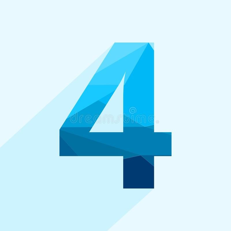 Blue vector polygon four number font with long shadow. royalty free illustration