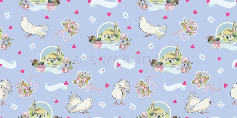 Blue pattern with dove, chappel and heart. stock illustration