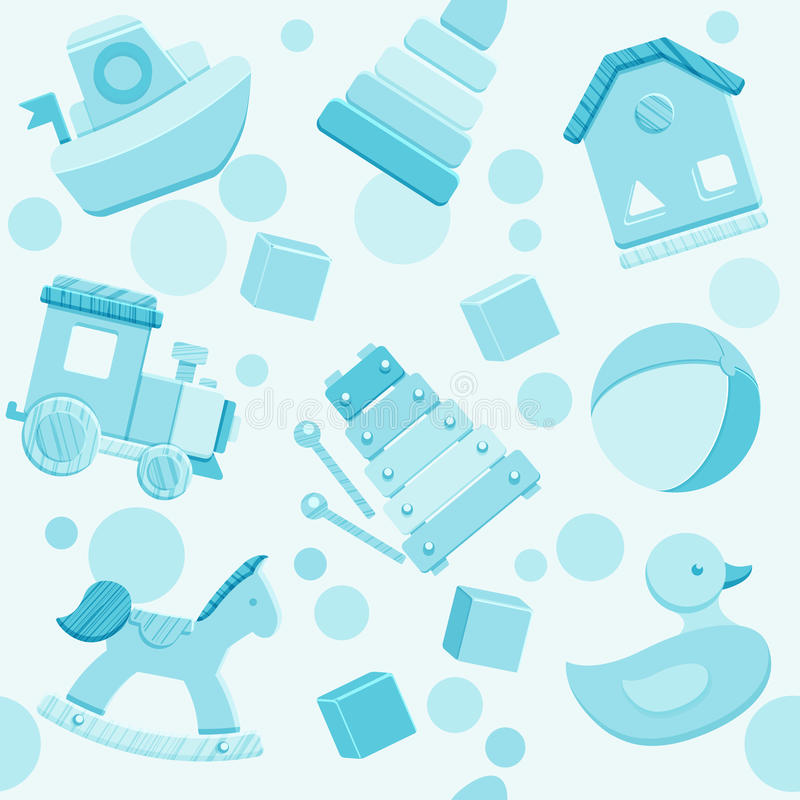 Blue vector seamless pattern with baby toys vector illustration