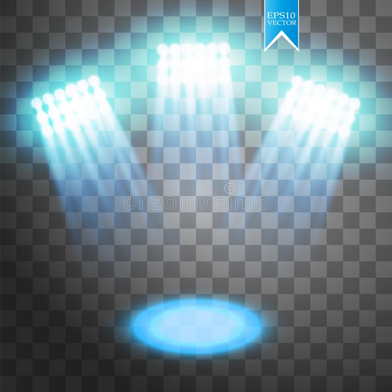 Blue vector spotlight light effect on transparent background. Concert scene with sparks illuminated by glow ray. Stadium stock illustration