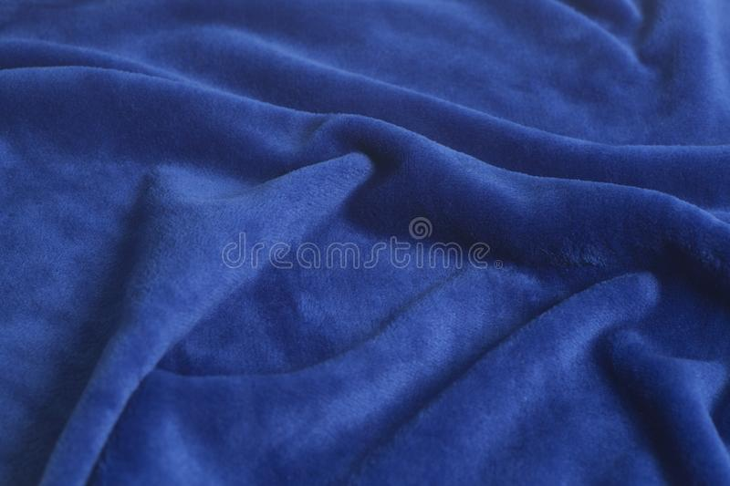Blue velvet fabric background texture royalty free stock images