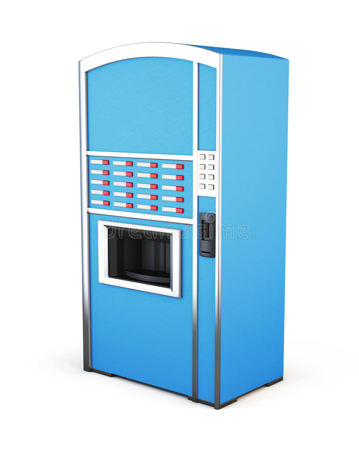 Blue vending machine for drinks and snacks on a white background royalty free illustration