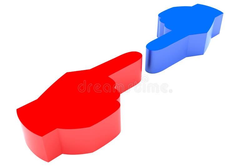 Blue Versus Red Hand Fingers Challenge stock photo