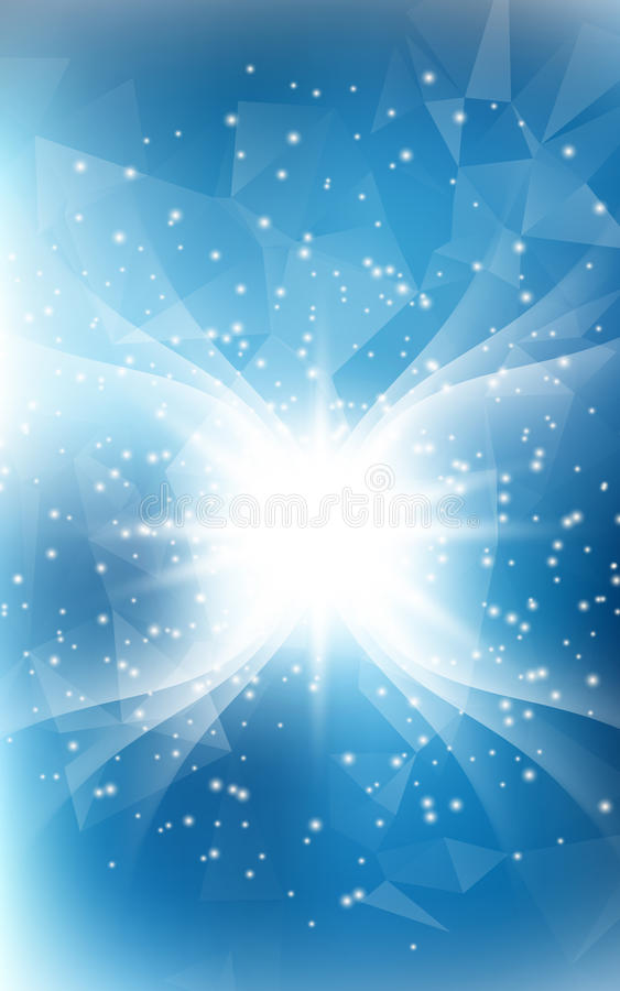 Blue vertical Christmas background with angel wings and shine li stock illustration