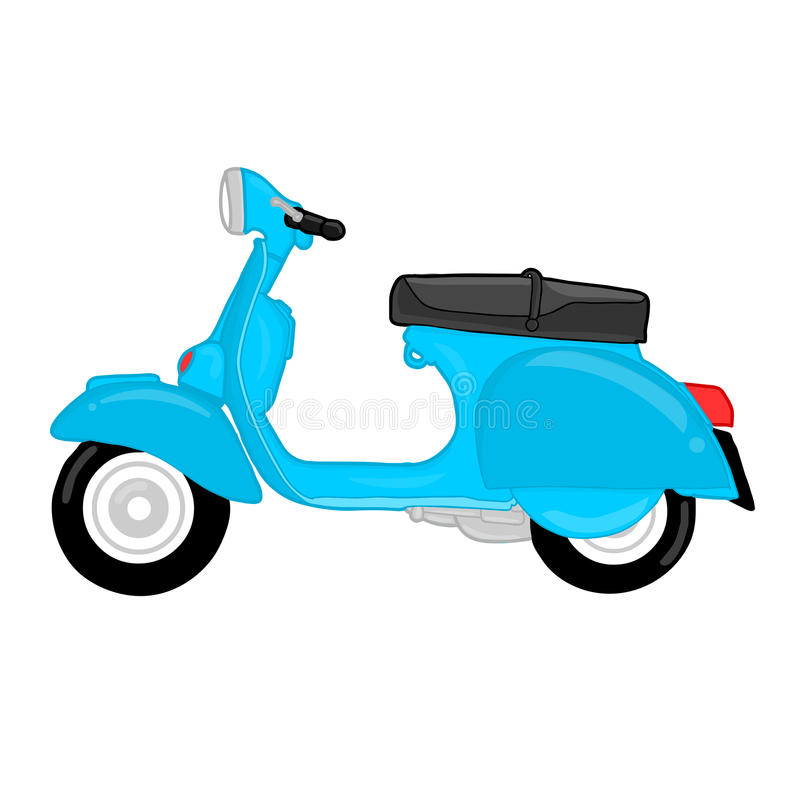 Blue vespa cartoon on white background stock illustration