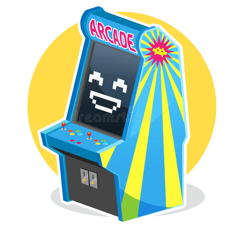 Blue Vintage Arcade Machine Game royalty free illustration