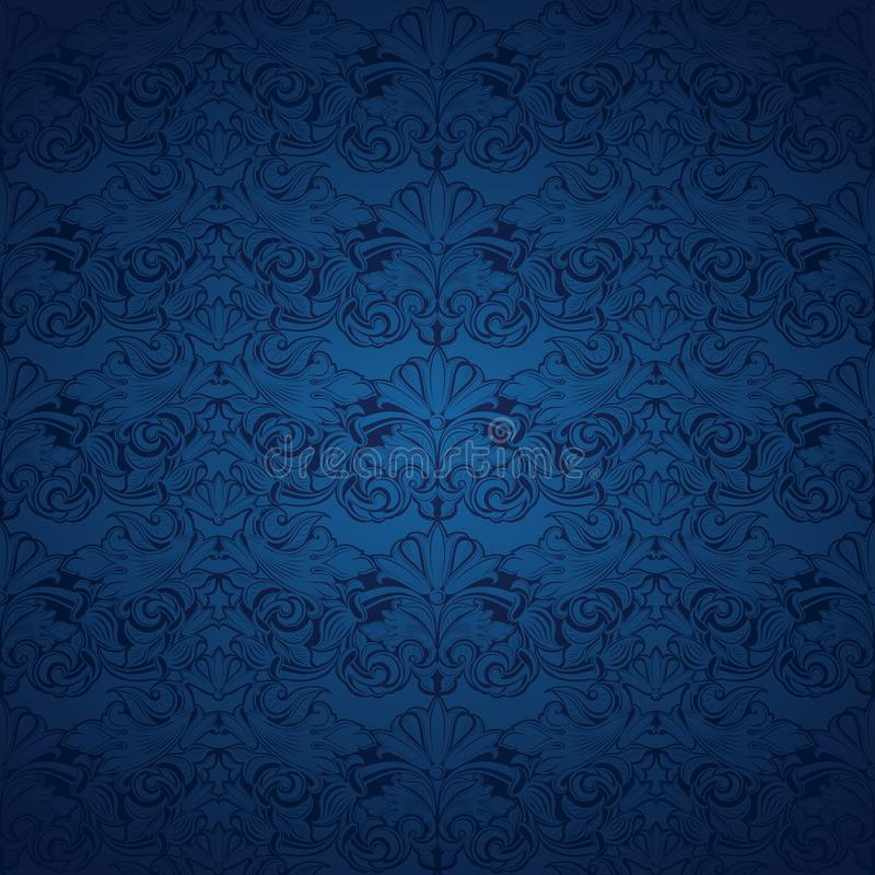 Blue vintage background, royal with classic Baroque pattern. Blue vintage background , royal with classic Baroque pattern, Rococo with darkened edges stock illustration