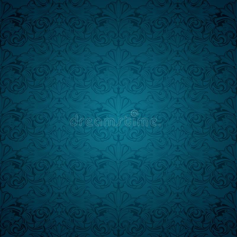 Blue vintage background, royal with classic Baroque pattern. Blue vintage background , royal with classic Baroque pattern, Rococo with darkened edges vector illustration