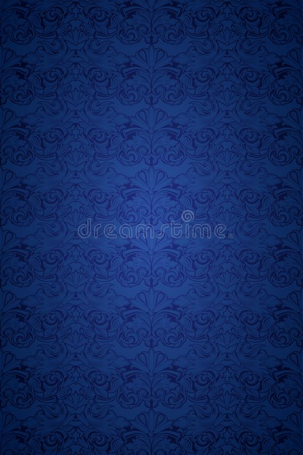 Blue vintage background, royal with classic Baroque pattern. Rococo with darkened edges backgroundcard, invitation, banner. vertical format vector illustration