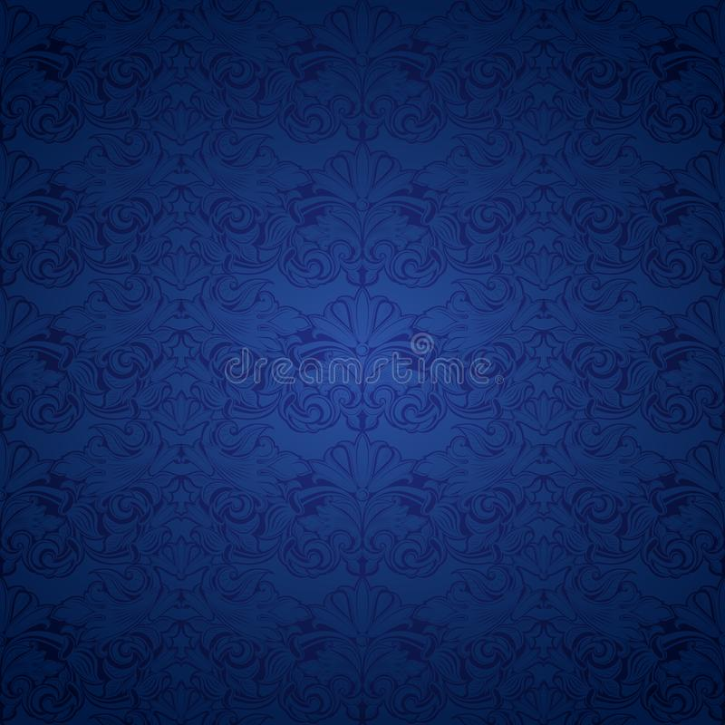 Blue vintage background, royal with classic Baroque pattern. Blue vintage background , royal with classic Baroque pattern, Rococo with darkened edges royalty free illustration