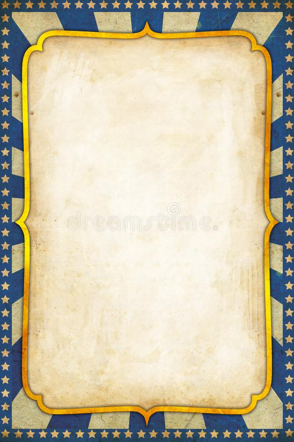 Free Blue Vintage Circus Poster Background With Golden Frame Royalty Free Stock Images - 135057569